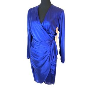 Vintage royal blue satin wrap dress